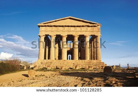 Greek Temple at sunset - stock photo