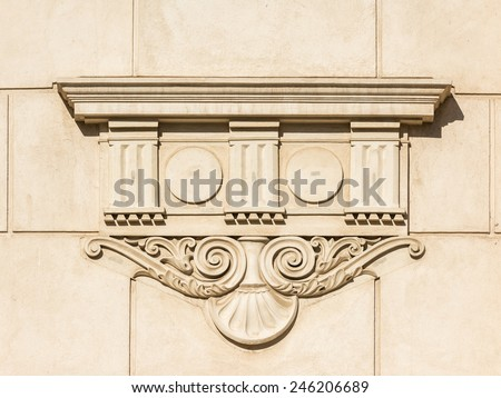 Greek Temple Bas Relief On Ancient Stone Column - stock photo