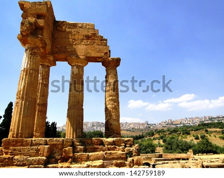 Greek Temple in Agrigento - stock photo
