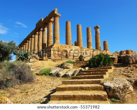 Greek temple of June, at Agrigento, Sicily - stock photo