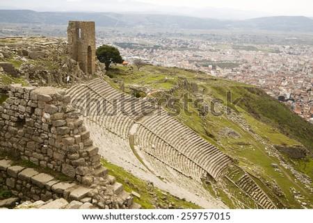 Greek theater in Pergamon - stock photo