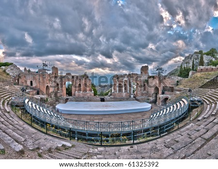 Greek theatre at Taormina, Sicily - stock photo