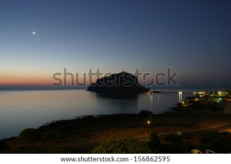 Greek town Monemvasia in Laconia south-eastern peloponnese. View on a small peninsula hosting a medieval town. - stock photo