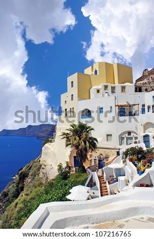 Greek  traditional architecture  in Santorini island, Greece - stock photo