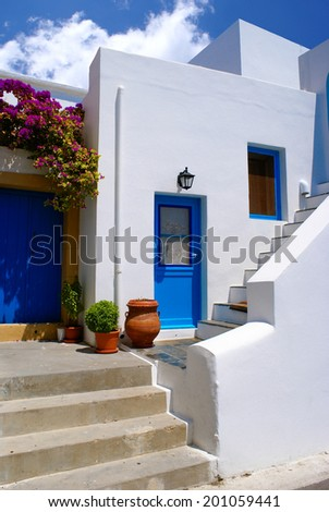 Greek traditional house located at Santorini island - stock photo