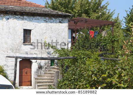 Greek traditional old house at 'Mouresi' area of Pelion in Greece