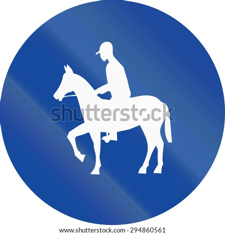 Greek traffic sign for a bridle way.