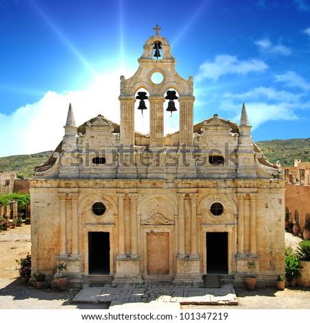 Greek travel - Arkadi monastery - Crete - stock photo