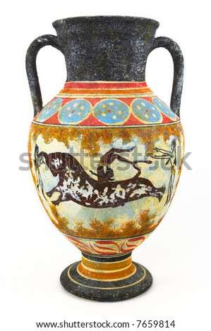 Greek vase on white background