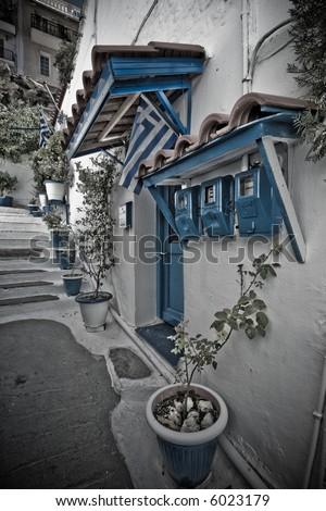 greek villa - stock photo