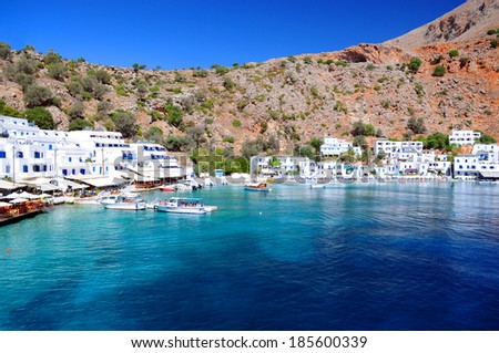 Greek village of Loutro,Crete - stock photo