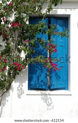 Greek window, Kythera - stock photo