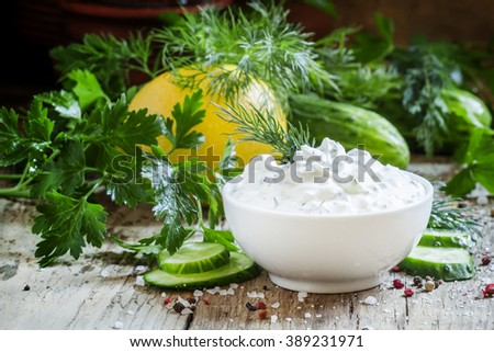 Greek yogurt sauce, cucumber and herbs, selective focus - stock photo