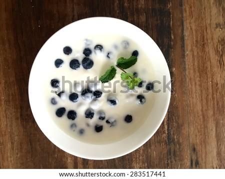 Greek yogurt with blueberries breakfast - stock photo