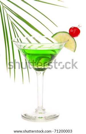 Green absinthe martini alcohol cocktail with vodka, light rum, gin, tequila, blue curacao, lemon juice, lemonade, lime slice, maraschino cherry isolated on a white background - stock photo