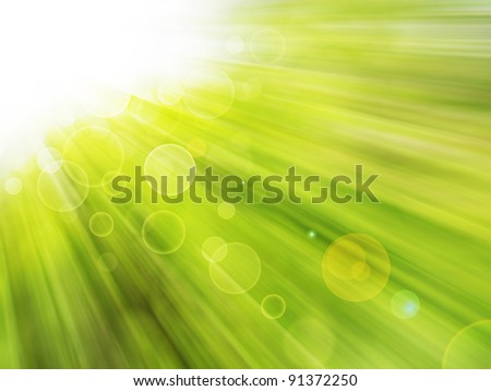 Green abstract background. Sunlight  from the left corner. - stock photo