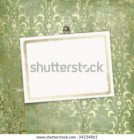 Green abstract background with card for greeting or congratulation
