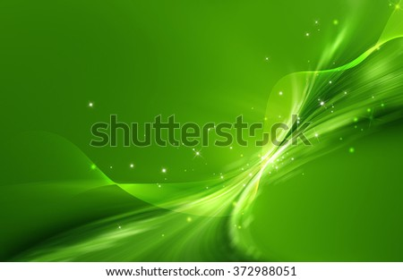 Green abstract background with mesh and curled shape and glittering effect - stock photo