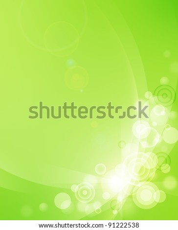 Green abstract background with transparent circles and bubbles in the corner.