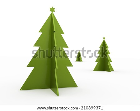 Green abstract christmas trees isolated on white background - stock photo