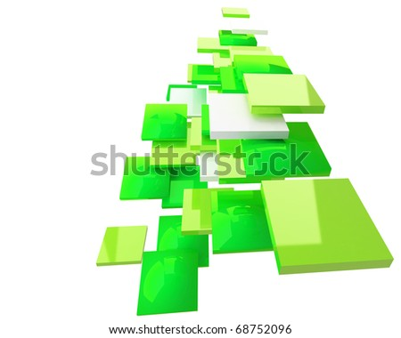 green abstract 3d squares forming the flow isolated on white background - stock photo