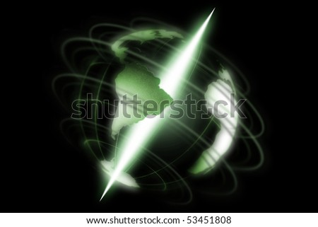 green, abstract, digital world with shine axis on black background - stock photo