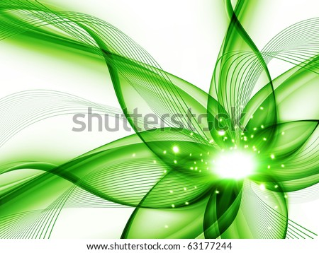 green abstract flower on a white background - stock photo