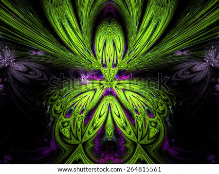 green abstract fractal fantasy background with light rays - stock photo