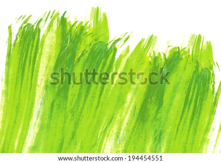 Green Abstract Hand painted watercolor grass background. Design illustration. - stock photo