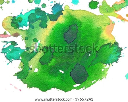 green abstract paint background - stock photo