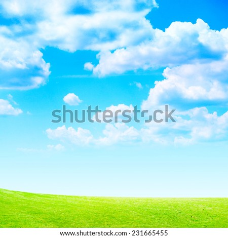green abstract plain under solar sky - stock photo