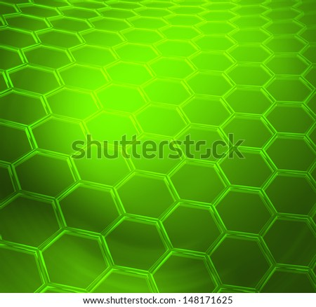 Green abstract technical or scientific  shiny background with graphene molecular structure - stock photo