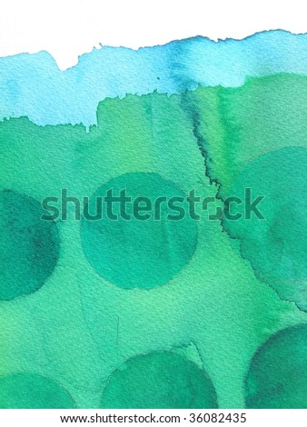 green abstract watercolor background circles - stock photo