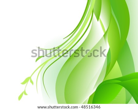 Green abstract waves design with plants. Vector file also available in my gallery