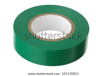 Green adhesive insulating tape on a white background