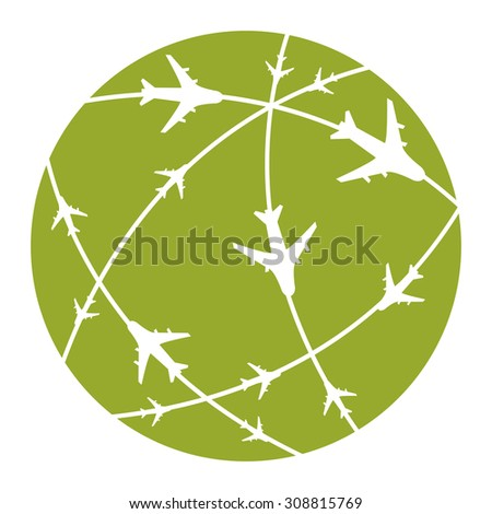 Green Air Transportation Infographics Flat Icon, Sign Isolated on White Background