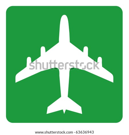 Green airplane sign - stock photo