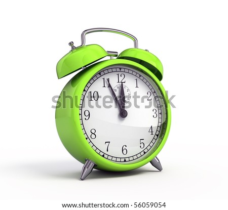 Green alarm clock - stock photo