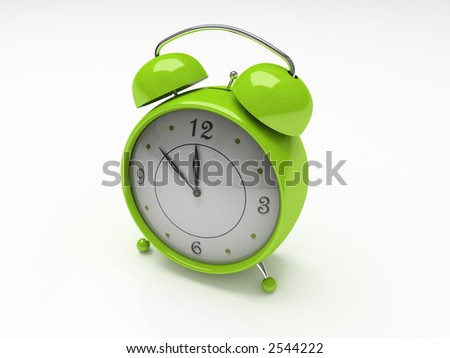 Green alarm clock isolated on white background 3D - stock photo