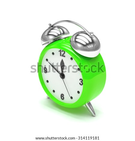 Green alarm clock on white
