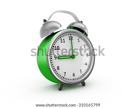 Green alarm clock showing nine o'clock. 3d render isolated on white background