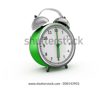 Green alarm clock shows six hours. 3d render isolated on white background