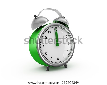 Green alarm clock shows twelve o'clock. 3d render isolated on white background