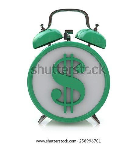 Green alarm clock with dollar symbol on clockface. Time is money - stock photo