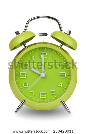 Green alarm clock with the hands at 10 am or pm isolated on a white background. One of a set of 12 images showing the top of the hour starting with 1 am / pm and going through all 12 hours - stock photo