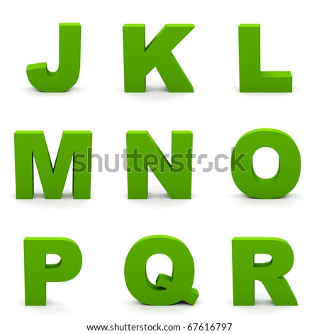 Green alphabet. Set of  letters isolated on white. - stock photo