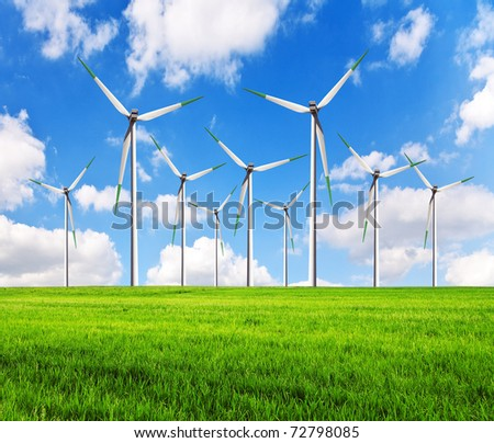Green alternative clean power wind turbines in field