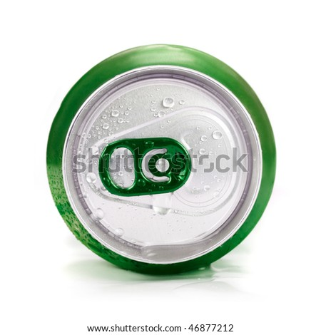 Green aluminum can closeup with water drops on a white - stock photo
