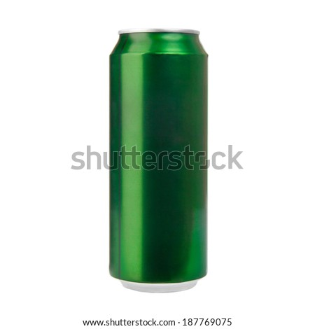 Green aluminum can isolated on white. Photo - stock photo