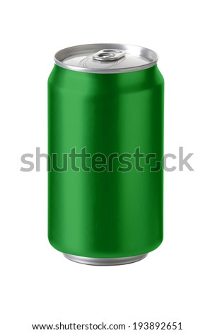 Green aluminum cans with blank copy space, ideal for beer, lager, alcohol, soft drink, soda, lemonade, cola, energy drink, juice, water etc., Realistic photo image, - stock photo